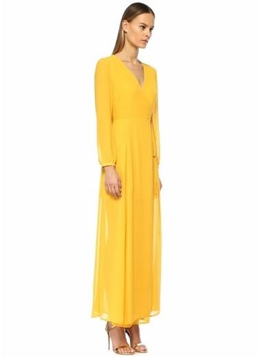 Glamorous V Yaka Uzun Kol Maksi Anvelop Elbise Sarı